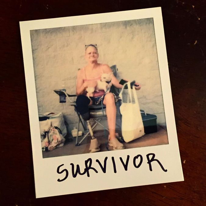 """When asked to write one word to describe herself and her life: """"Survivor."""""""